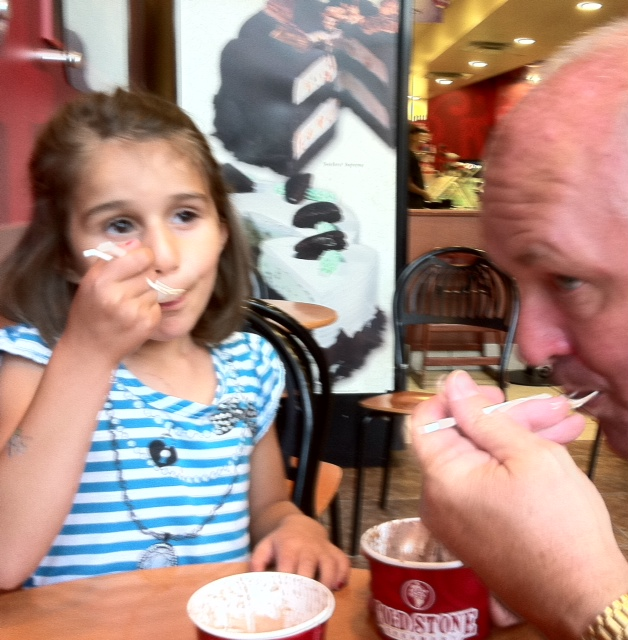 Grace and I enjoy some very delicious ice cream from Coldstone Creamery