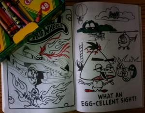 No coloring book is safe! Look carefully...I have created here my own mutant Angry Birds-Hot Wheels opportunity to ignore the lines1