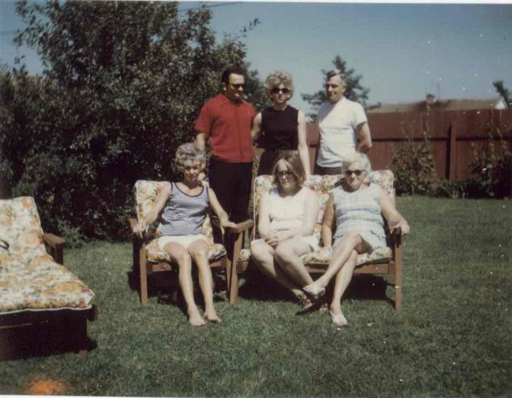 front row: my mother, Joan Boggs, Kim, and our grandmother, Ruby Mae Pennington