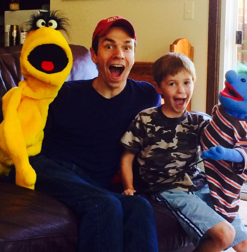 One of my care teams...meet Curtis (the yellow one), my son Jonathan, grandson Jared, and of course, Butchy Crawcheeks,